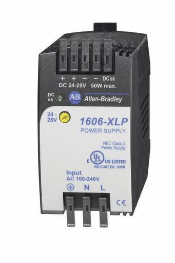1606-XLP50E: Compact Power Supply, 24-28V DC, 50 W, 120/240V AC / 85-375V DC Input Voltage
