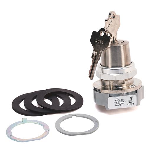 30.5mm Type 4/13 2 Pos. Cylinder Lock Sel. Switch, Maint., Lock-Right, Std. Key, D018 Key, 3 NO-3 NC