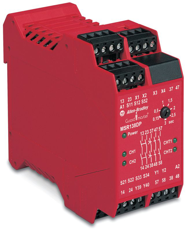 Allen-Bradley 440R-M23151 24 VAC/VDC 2NO 35 mm Din Rail Auto/Manual/Monitored Single Function Safety Relay with Delayed Output