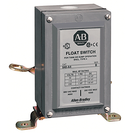 Allen Bradley 840-A42 600 VAC 10 Amp 2NC NEMA 4 Electromechanical Automatic Float Switch