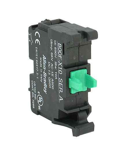 Allen-Bradley 800F-X10 22.5 mm No Latch Screw Contact Block 1 N.O. Push Button