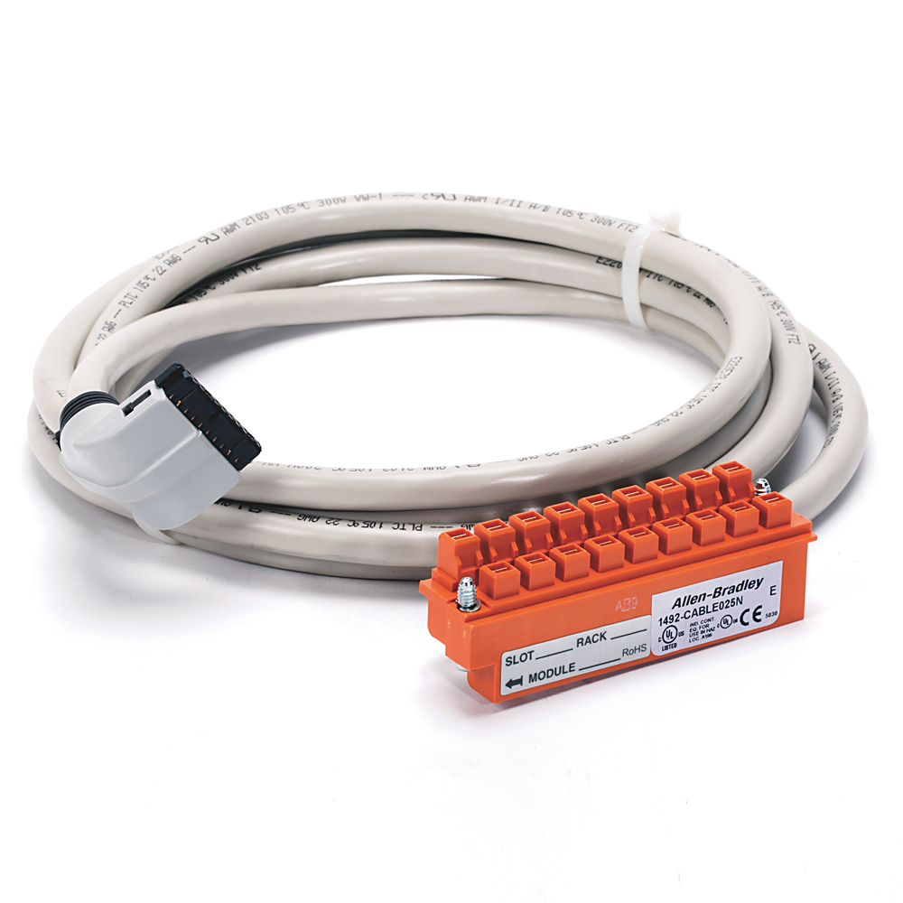 Allen-Bradley 1492-CABLE025N 2.5 m 300 Volt 22 AWG 20-Conductor Pre-Wired Digital Interface Cable