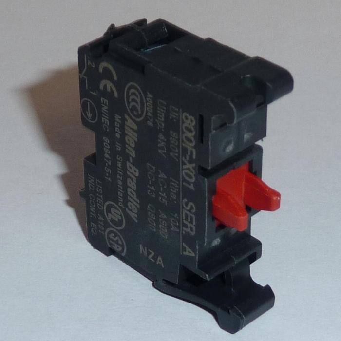 Allen-Bradley 800F-X01 22.5 mm No Latch Screw Contact Block 1 N.C. Push Button