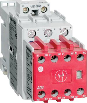 Allen-Bradley 100S-C12EJ05BC 100S-C Safety Contactor, 12A, Line Side, 24V DC (w/Elec. Coil), 3 N.O., 0 N.O. 5 N.C., Bifuracated Contact