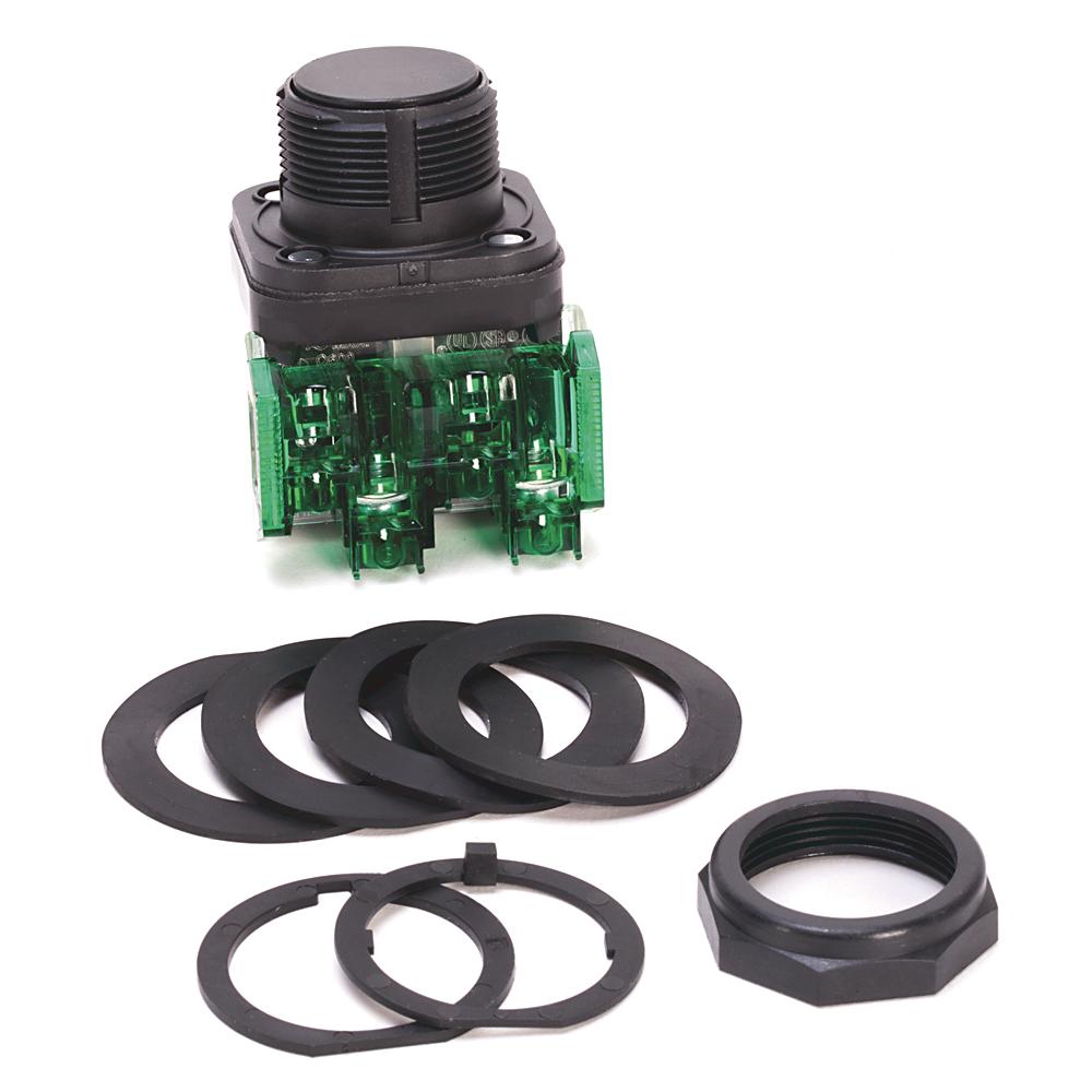 Allen-Bradley 800HC-AR2D1 30.5mm Type 4/4x/13 Non-Illuminamted Flush 1 NO Finger Safe Guards Momentary Contact Push Button