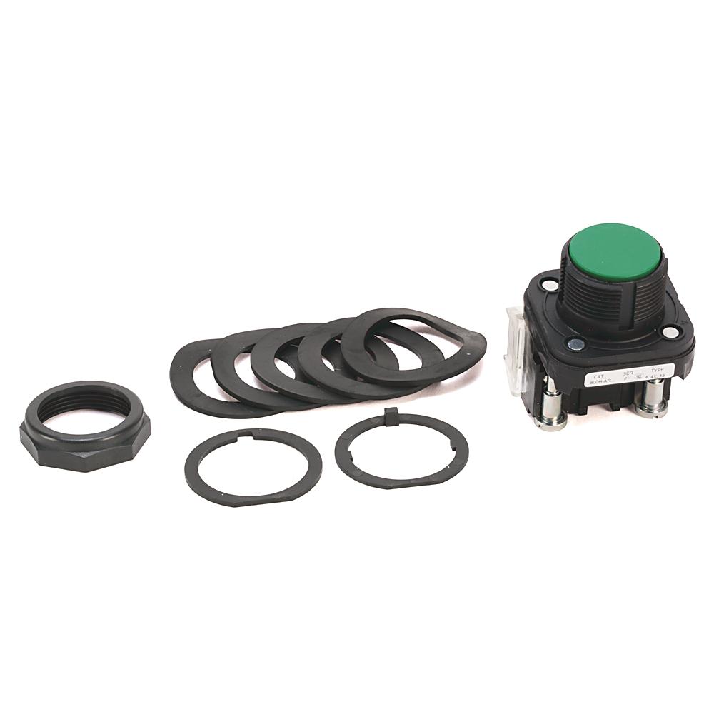 Allen-Bradley 800H-AR2A 30.5 mm NEMA 4/4X/13 600 VAC/VDC 1NO 1NC Black Momentary Bootless Flush Non-Illuminated Push Button