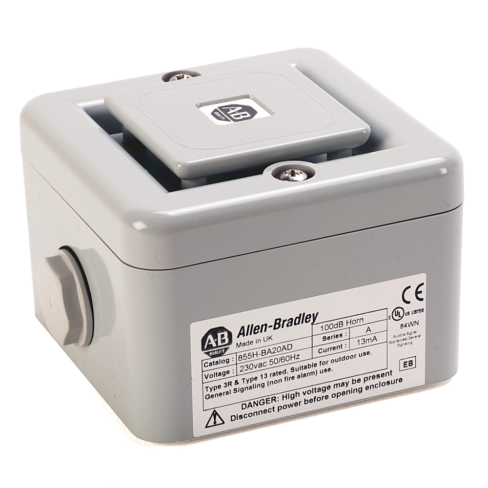 Allen-Bradley 855H-BD30AD 10 to 30 VDC 100 dB 10 Tone 2-Stage Gray Standard Base High-Performance Electronic Horn