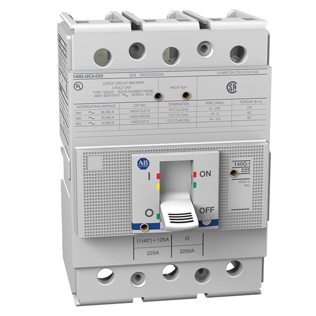 Allen Bradley 140G-I2C3-D12 225 Amp I-Frame Molded Case Circuit Breaker
