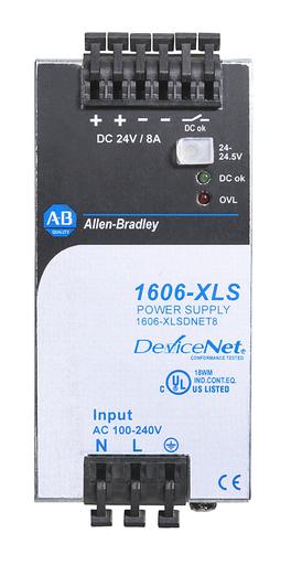 1606-XLSDNET8: Performance Power Supply (for DeviceNet), 24-48V DC, 192 W, 120/240V AC / 110-300V DC Input Voltage