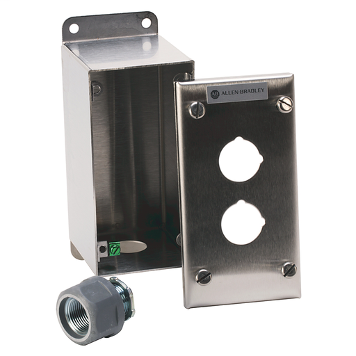800R Pushbutton Station, Standard, 2 Push Buttons or 2 Push Buttons with 1 Pilot Light,Bulletin 800H Units, NEMA Type 4/4X/13 Bootless, Rosite Glass Polyester, No Legend, No Pilot Lights