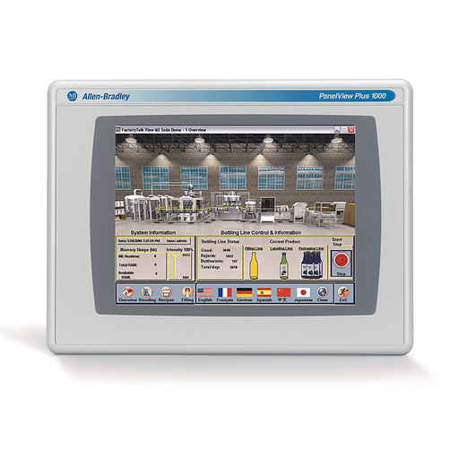 2711 PanelView Plus 6 Terminal, 1000 Model, Touch Screen, Color, Standard Communication - Ethernet & RS-232, DC Input, Windows CE 6.0 with Extended Features