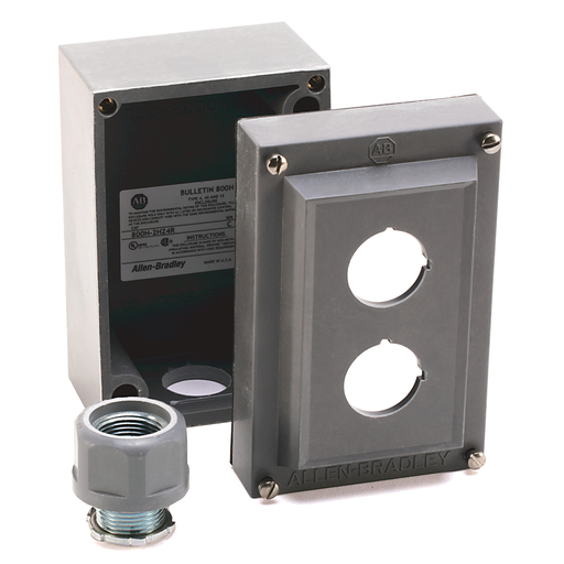 800T and 800H Accessories, Push Button Enclosure, ROSITE Glass Polyester, 2 Holes with 2 3/4 in. Diameter Hubs, Type 4/4X/13