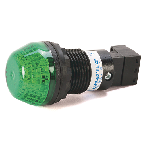 855PB Panel Mount Selectable Steady or Flashing LED, Black Housing, 24V AC/DC,, 30 mm, Red Lens22.5 mm Mounting Hole