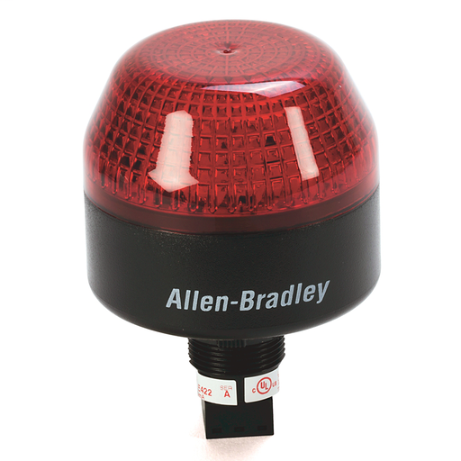 855PB Panel Mount Selectable Steady or Flashing LED, Black Housing, 24V AC/DC,, 65 mm, Red Lens22.5 mm Mounting Hole