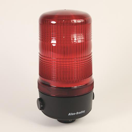 Round 120 mm Beacon, 1/2 inch Conduit Mount, Standard, 120V AC Full Voltage, Strobe, Clear