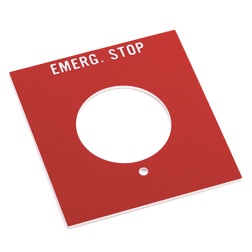 800H 7 & 9 Accessories, 800H 7 & 9 Legend Plates, Vertical, No Color Code, Standard, EMERGENCY STOP (Red)