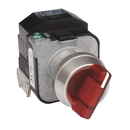 30.5mm Type 4/13 Sel. Switch-Illum., 3 Pos.Transformer, 120V AC 50/60 Hz, Amber, Std. Knob Maint.