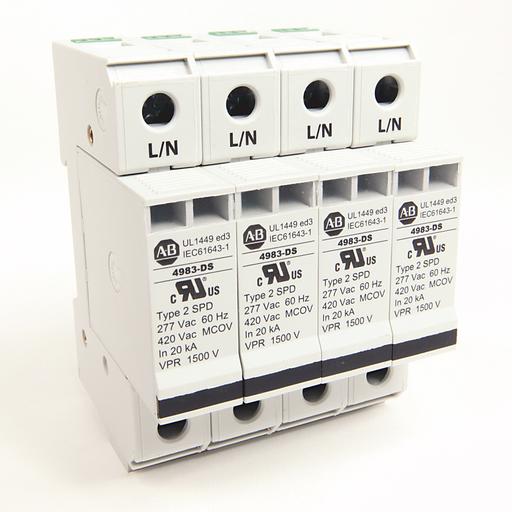 4983 Surge and Filter Protection, Din Rail Mount, UL 1449, 277/480V AC, 80kA, 4 Pole Configuration