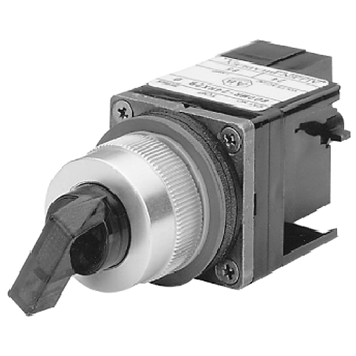 800MR 2-Position Knob/Lever Type Selector Switch Units, Illuminated, Transformer, 120V AC 50/60 Hz, 2-Position, Standard Knob Red, Incandescent, Maintained, B Cam, 1 N.O. - 1 N.C., Large Screw