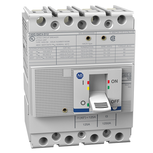 140G - Molded Case Circuit Breaker, G frame, 25 kA, T/M - Thermal Magnetic, 4 Poles, Rated Current 20 A