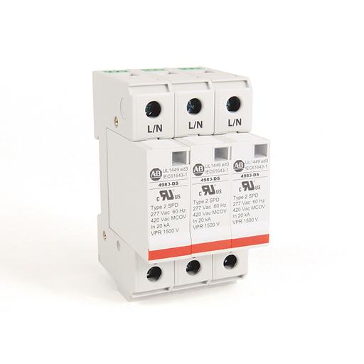 4983 Surge and Filter Protection, Din Rail Mount, UL 1449, 277/480V AC, 40kA, 3 Pole Configuration