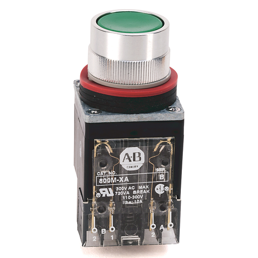 800MR Momentary Contact Push Button Units, Non-Illuminated, Flush Head, Black, 1 N.O., Stab Terminals