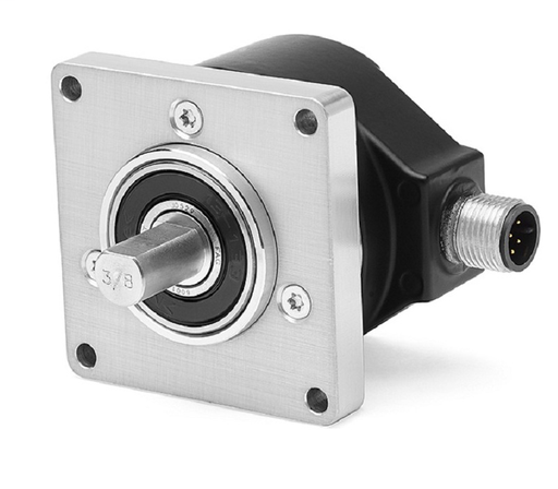 Incremental Encoder, Standard Square Flange, 3/8 inch Diameter Shaft with Flat, 8-30 Volt Line Driver,HTL (B-Leads-A, CW, Z gated with BN), MS Connector, 10-Pin, 360 Pulses per Revolution.