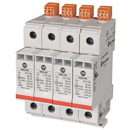 4983 Surge and Filter Protection, Din Rail Mount, UL 1449, 120V, 40kA, 1 Pole Configuration