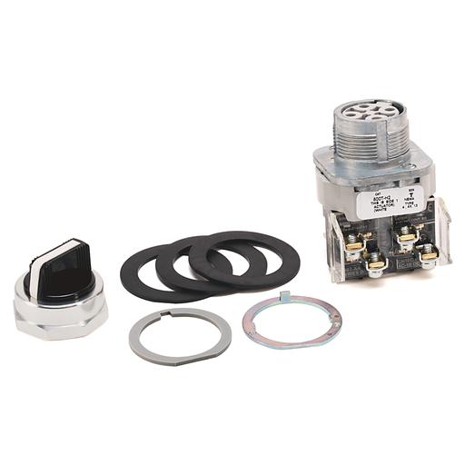 30.5mm Type 4/13 2 Pos Sel. Switch-Non-Illum., White, Std. Knob Maint., 1 N.O. - 1 N.C. Sealed Switch