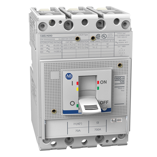 140G - Molded Case Circuit Breaker, HC frame (current limiting), 65 kA, T/M - Thermal Magnetic, 3 Poles, Rated Current 25 A