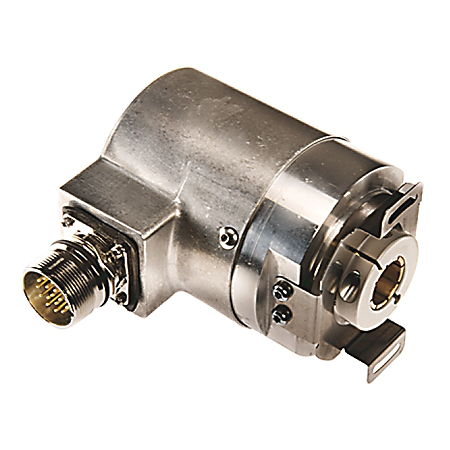 842HR Sine Cosine/Serial EncoderSingle-turn (1 turn), Square Flange, 3/8 inch solid shaft with flat, 5...12V DC, MS 10-pin Connector