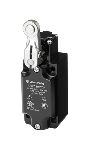 Limit Switch, Non-Safety, Short Lever with Metal Roller, 1 N.C./1 N.O., Snap Action, 1/2 NPT Conduit