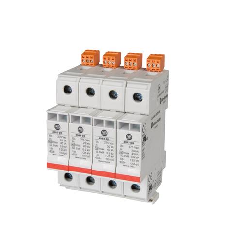 4983 Surge and Filter Protection, Din Rail Mount, UL 1449, 277/480V AC, 40kA, 4 Pole Configuration