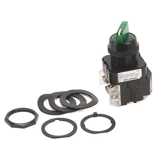 30.5mm Type 4/4X/13 Sel. Switch-Illum., 3 Pos., Transformer, 120V AC 50/60 Hz, Green, Knob Lever Maint., 1 NO-1 NC