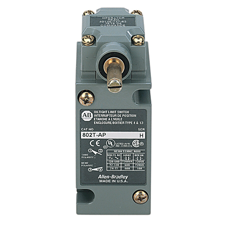 Limit Switch, NEMA Type 4 and 13 Oiltight Construction, Plug-In, Lever Type, Spring Return, Standard Operating Torque, 2-Circuit, CW and CCW operation, Whole Switch, 120V AC Indicating Light