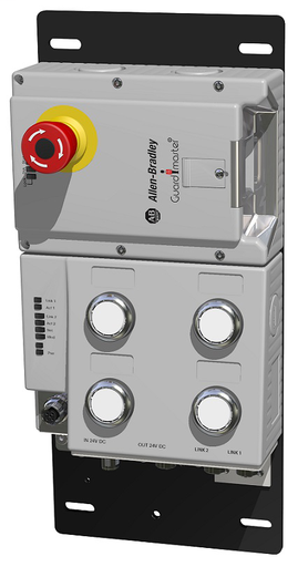 Lock Module, 442G Access Box, Power to Lock, Unique Code, EtherNet/IP (2 x M12, D-coded), Right-hand Guard, E-stop,Four Push Buttons, and Connector for Enabling Switch