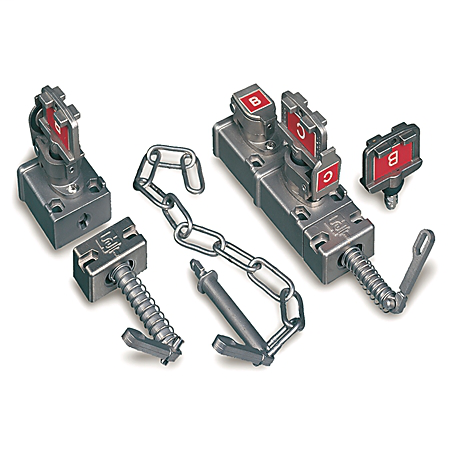 Access Interlock - Dual Key, Standard Key Code Labeling, Lever Actuator. Primary key trapped, Secondary key free to release lever.