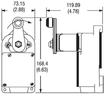 801 General Purpose Limit Switch, Roller Lever Type, Ratchet Type, Maintained, Type 7 Housing Style, Arrangement C