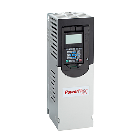 PowerFlex 753 AC Drive, with Embedded I/O, Air Cooled, AC Input with Precharge, no DC Terminals, Type 12 / IP54, 156 Amps, 125HP ND, 100HP HD, 480 VAC, 3 PH, Frame 6, Filtered, CM Jumper Installed, None, Blank (No HIM)