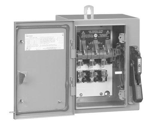 """1494GX Enclosed Disconnect Switches, Extra Capacity,, Three Phase,, Non-Fusible, 60A, Type 3R/4/12 - Enclosure Code """"F"""", 3 pole, three phase"""