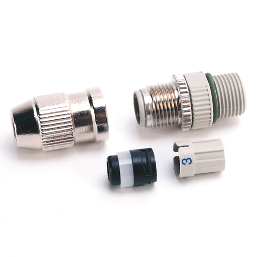 M12 IDC Connector, 4-pin, Straight Female, Shielded