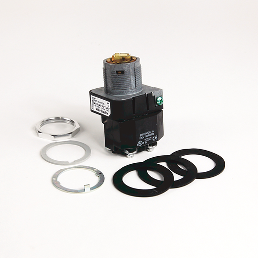30.5mm Type 4/13 Sel. Switch-Illum., 2 Pos., Transformer, 120V AC 50/60 Hz, White, Knob Lever Maint., KB6 Maintained Cam, 1 NO-1 NC