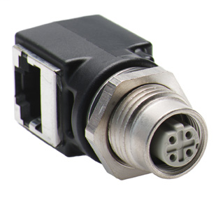 Female M12 Receptacle to RJ45 Female Adaptor Right Angle