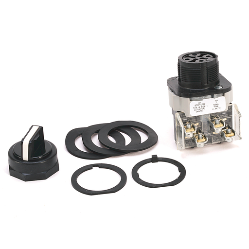 800H 3 Position Selector Switch, White, Std. Knob Maint., 3 Position, Cam and Contact Blocks, Code R for 800H, No