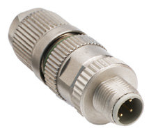 M12 IDC Connector, 4-pin, Straight Male, Unshielded