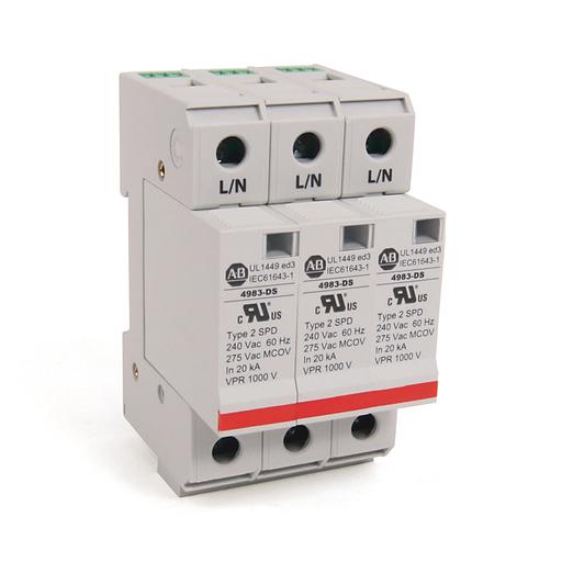 4983 Surge and Filter Protection, Din Rail Mount, UL 1449, 230-240V AC, 40kA, 3 Pole Configuration