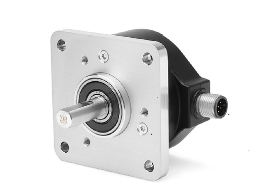 Incremental Encoder, Standard Square Flange, 3/8 inch Diameter Shaft with Flat, 4.5-5.5 Volt Line Driver,TTL (B-Leads-A, CW, Z gated with BN), MS Connector, 10-Pin with mating connector, 1024 Pulses per Revolution.