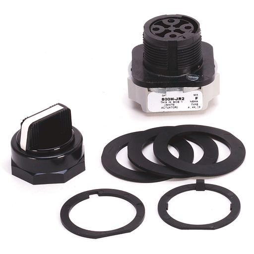 800H 3 Position Selector Switch, White, Std. Knob Spring Rtn fr/ Both, 3 Position, Cam and Contact Blocks, Code R for 800H, No