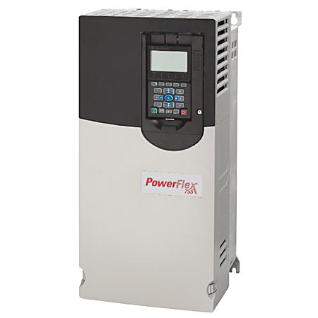 PowerFlex 755 AC Drive, with Embedded Ethernet/IP, Air Cooled, AC Input with DC Terminals, Flange Type, 22 Amps, 15HP ND, 10HP HD, 480 VAC, 3 PH, Frame 2, Filtered, CM Jumper Installed, DB Transistor, Blank (No HIM)