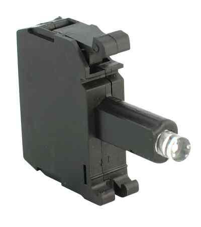 Integrated LED (screwless), Plastic Latch Mount, 24V AC/DC, Green LED, 1 N.O. Contact(s), 0 N.C. Contact(s), Standard